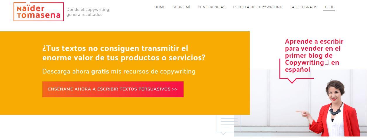 Formulario cabecera web dentro de la sección de blog