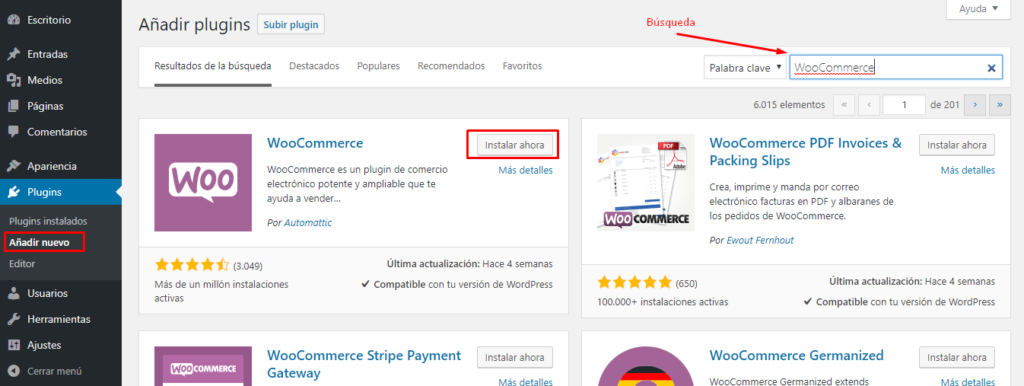 Instalacion Plugins en WordPress