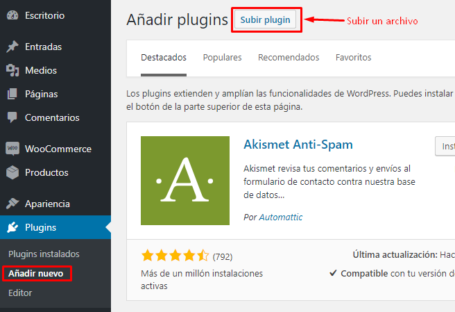 Instalacion Plugins en wordpress con archivo descargado